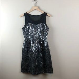 Elle Black and Silver Metallic Dress (Size 4)